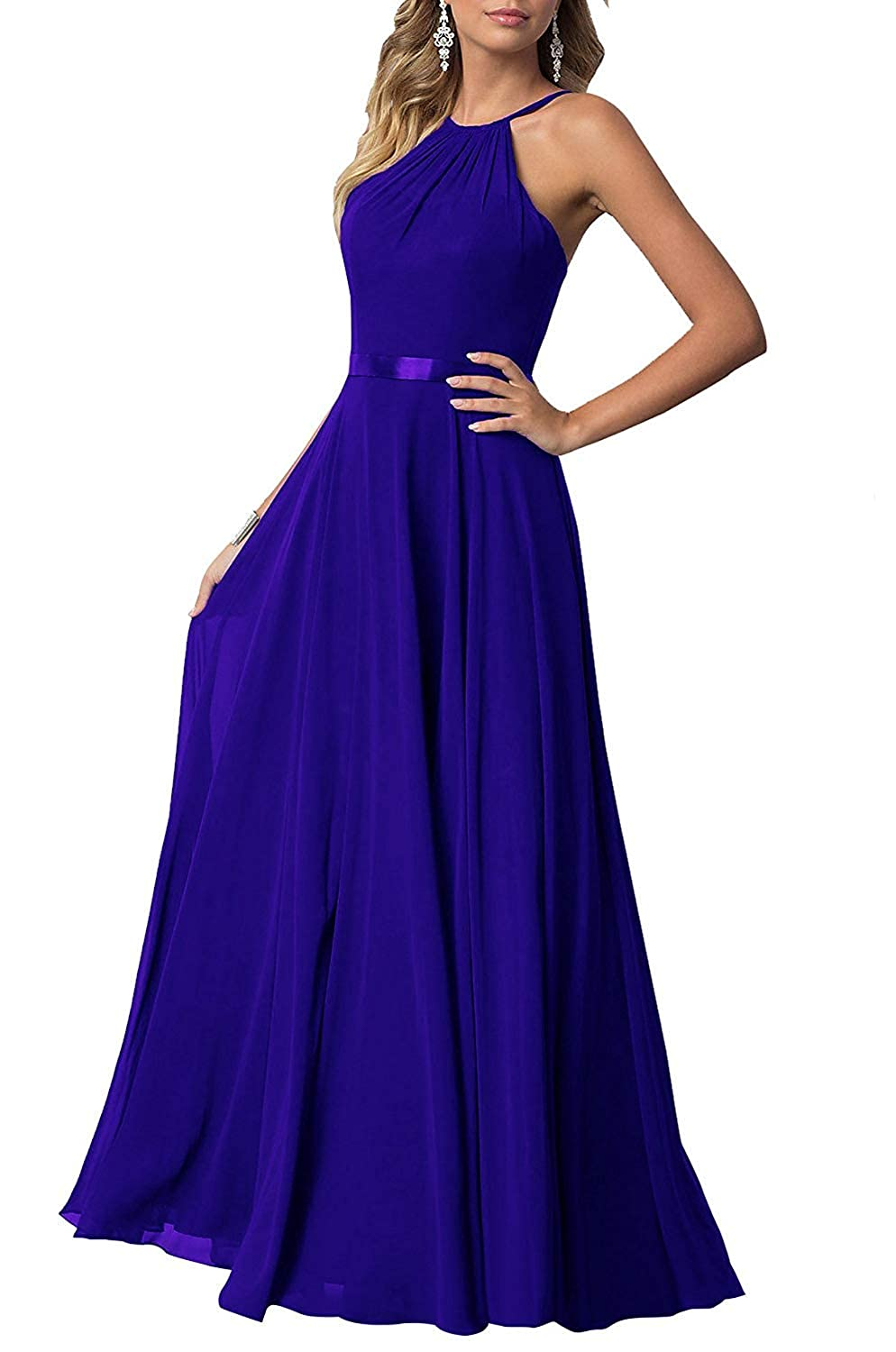 Royal bluee YUSHENGSM Long HighNeck Spaghetti Strap Prom Dresses Party Bridesmaid Dress Maxi Gowns