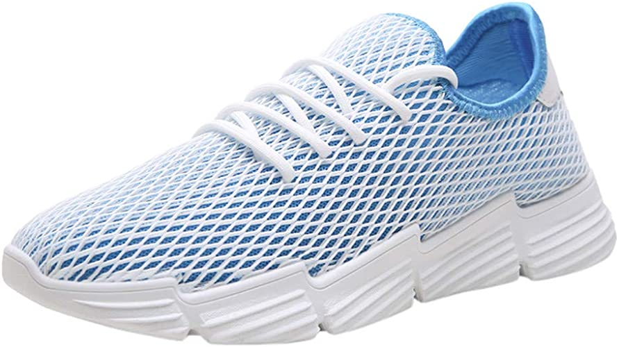 Mens Breathable Sport Shoes,Males Mesh Lace up Hollow Out Ultra Lightweight Athletic Running Walking Sneakers Outdoor