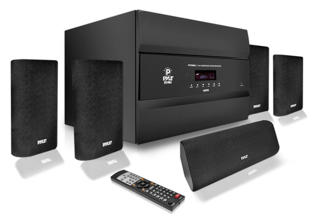 Pyle PT678HBA Bluetooth 5.1 Channel HDMI Home Theater System, 400 Watt, AM/FM Tuner, Subwoofer & Speakers (Renewed)