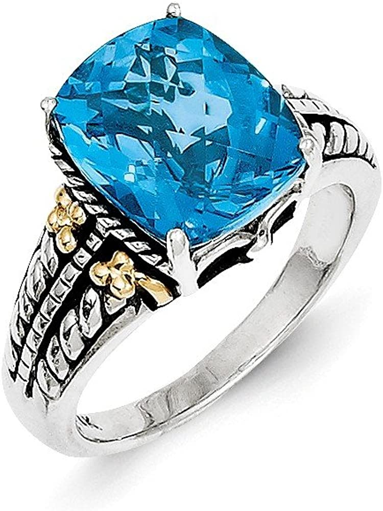 Sterling Silver with 14k 5.65Swiss Blue Topaz Ring