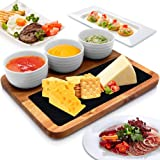 Wooden Snack Board Tray Set - Acacia Wood Cheese Sushi Meat Serving Platter w/Slate Stone Plate, 3 Ceramic Bowls - Gifts for Housewarming, Couples, Wedding, Party, Bridal Shower - NutriChef PKSNKB10