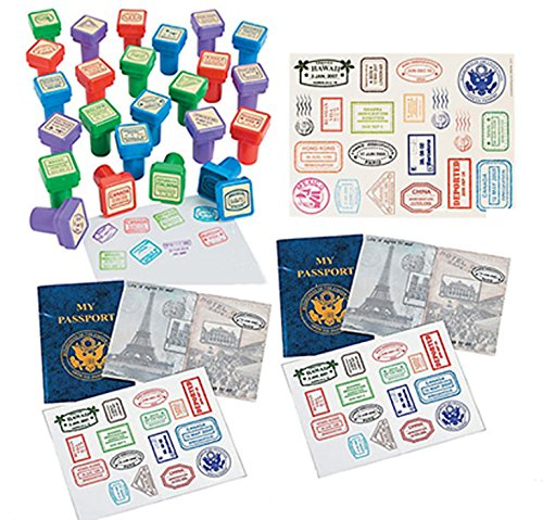 Travel Themed Party Supplies - Passport Stampers Passport Sticker Books Passport Stamp Stickers Bundles