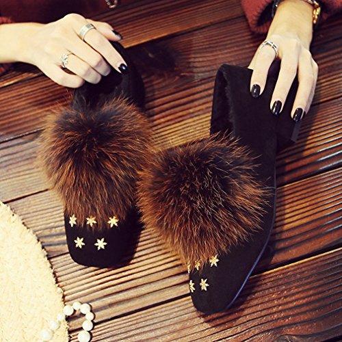 Zapatos XAI Cachemira Segundo Cuadrados Más de Perezosos Bajos Moda Piel E Zapatos con Moda Invierno Invierno con Otoño Zapatos de Zapatos de qnrA7qpwBx