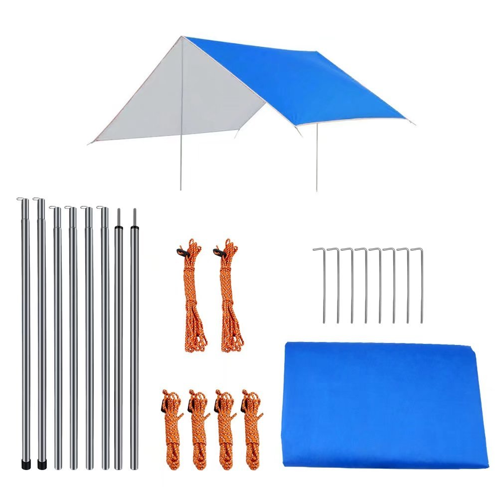BeGrit Lightweight Tent Tarp Sun Shelter Shade Rain Fly Awning Canopy Beach Sunshade with Poles Carrying Bag Stakes Lines for Outdoor Camping Hiking Backpacking Picnic Fishing Blue