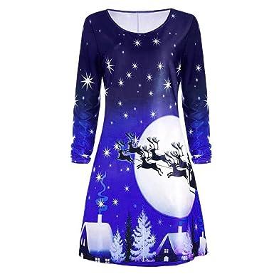 fd62c465ad4288 ... Drucken Kleid Damen Abend Party Knie Kleid Langarm Lose Kleid O  Ausschnitt Patchwork A-Linie Rock Casual Minikleid: Amazon.de: Bekleidung