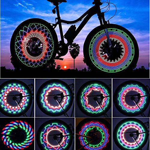 TINANA Bike Wheel Lights, LED Waterproof Bicycle Spoke Light 32-LED 32pcs Changes Patterns Bicycle Rim Tire Lights for Mountain Bike/Road Bikes/BMX Bike/Hybrid Bike/Folding Bike by TINANA