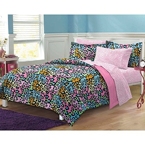(Girls Multicolor Luxurious Leopard Themed Comforter with Sheets 7-Piece Set Full, All Over Wild Animal Pattern, Colorful African Safari Jungle Design, Printed Reversible Bedding, Rainbow Colors)