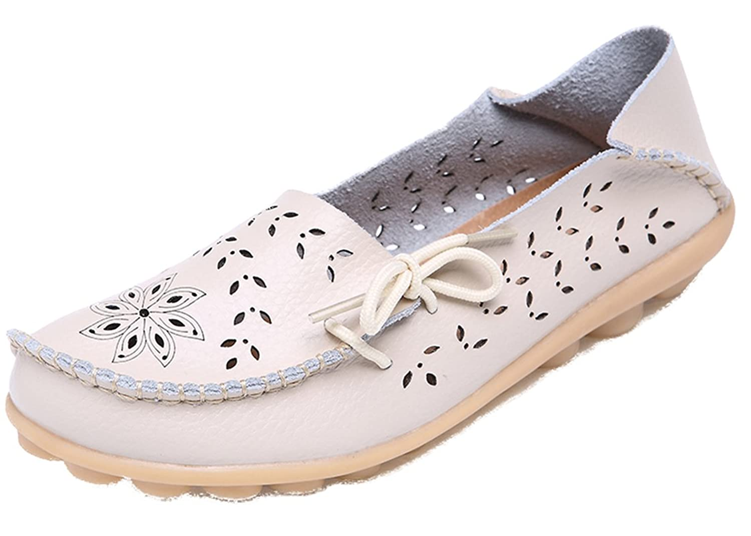 5Sheepgs Women Vintage Style Leather Lace-Up Loafer Flats Pumps