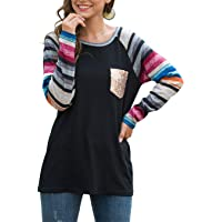 Yizenge Women's Casual Striped Long Sleeve T Shirts Fall Tunic Tops Blouses with Sequin Pocket