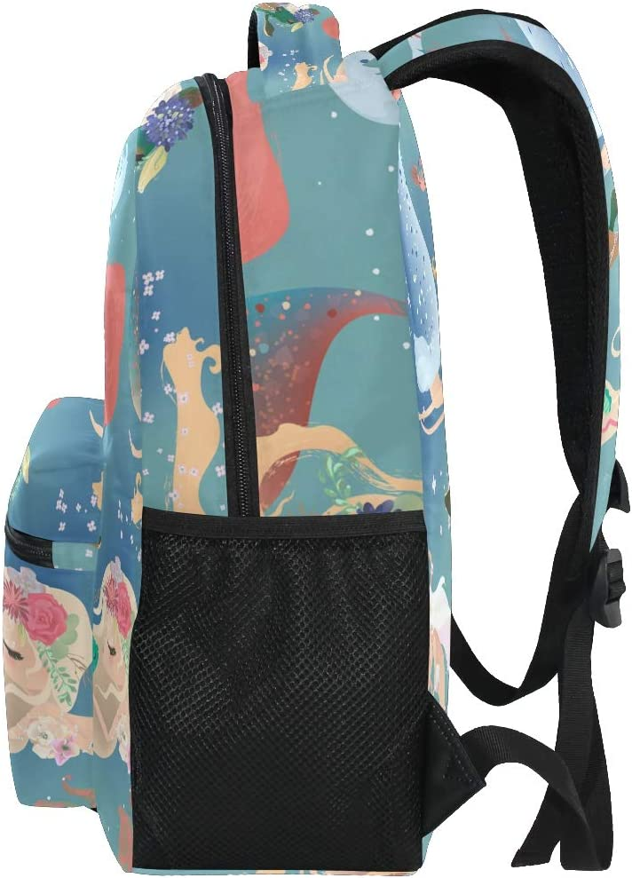 ALAZA Cartoon Mermaid Princess Floral Wreath Large Backpack Personalized Laptop iPad Tablet Travel School Bag with Multiple Pockets