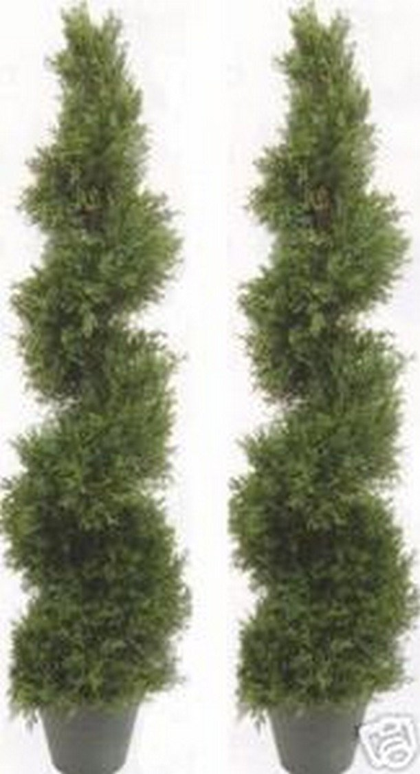 Two 5 Foot 4 Inch Artificial Cypress Spiral Trees Potted Indoor or Outdoor