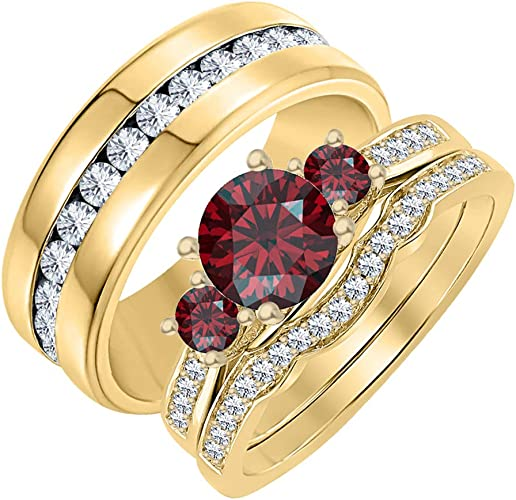 SVC-JEWELS 14k White Gold Plated 925 Sterling Silver Red Garnet Cluster Engagement Wedding Band Ring Mens