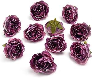 Fake flower heads in bulk wholesale for Crafts Peony Flower Head Silk Rose DIY Scrapbooking Decorative Flower Heads Decor for Home Garden Wedding Birthday Party Decoration Supplies 30PCS 4cm (Purple)