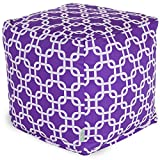 Majestic Home Goods Links Indoor/Outdoor Bean Bag Ottoman Pouf Cube, 17'' x 17'' x 17'' (Purple)