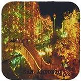 3dRose cst_62235_1 Beautiful San Antonio Riverwalk at Night Soft Coasters, Set of 4