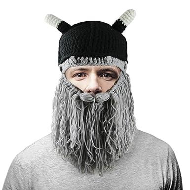 Halloween Viking Horns Hat Men Funny Beanie Cap with Long Full Beard Winter  Bearded Caps Barbarian 435377ecaff
