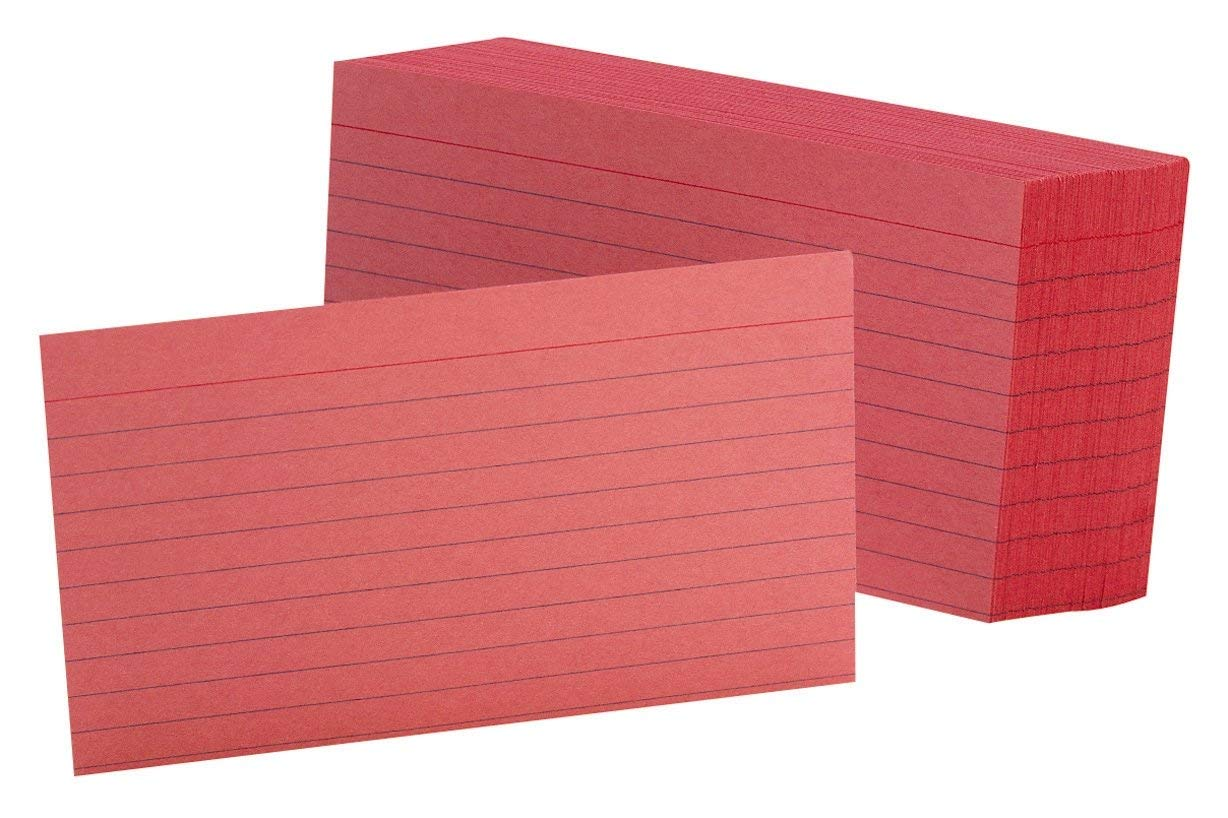 Oxford Ruled Color Index Cards, 3'' x 5'', Cherry, 100 Per Pack (7321 CHE), 10 PACK