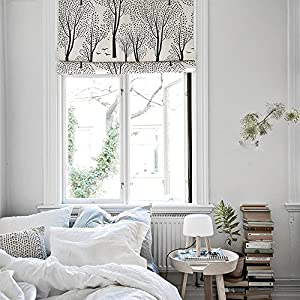 "KARUILU home Quick Fix Washable Roman Window Shades Flat Fold , Custom any width from 14"" to 70"" , Forest (34W x 63H, Birch Grove)"