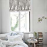 KARUILU home Quick Fix Washable Roman Window Shades Flat Fold, Custom any width from 14'' to 70'', Forest (36W x 63H, Birch Grove)