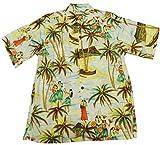 Go Barefoot Mens Halau Hula School Vintage Fujiette Rayon Shirt Blue M offers