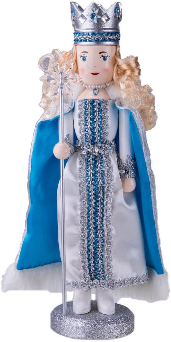 """Clever Creations Traditional Wooden Collectible Snow Queen Christmas Nutcracker   Festive Christmas Decor   100% Wood   14"""" Tall Perfect for Shelves and Tables"""