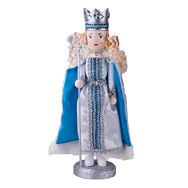 Traditional Snow Queen Nutcracker by Clever Creations | Collectible Wooden Christmas Nutcracker | Festive Holiday Décor | White and Blue Dress and Cape | With Snowflake Scepter | 100% Wood | 14  Tall