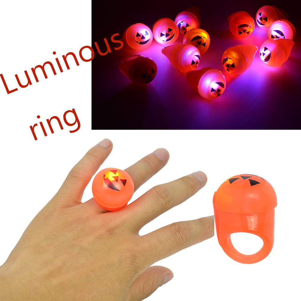 lustiges Spielzeug, ALIKEEY 1PC Halloween glühenden Kürbis Leuchten Blinkende Finger Ringe Party Kinder Spielzeug ALIKEEY00t