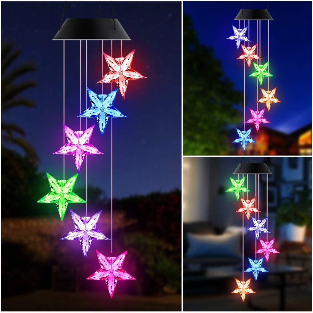 SIEBIRD LED Color Changing Solar Wind Chime Light, Solar Star Wind Chimes Outdoor, Solar Powered LED Hanging Lamp Mobile Waterproof Romantic Wind Bell Light for Outdoor Garden Party Decoration : Garden & Outdoor