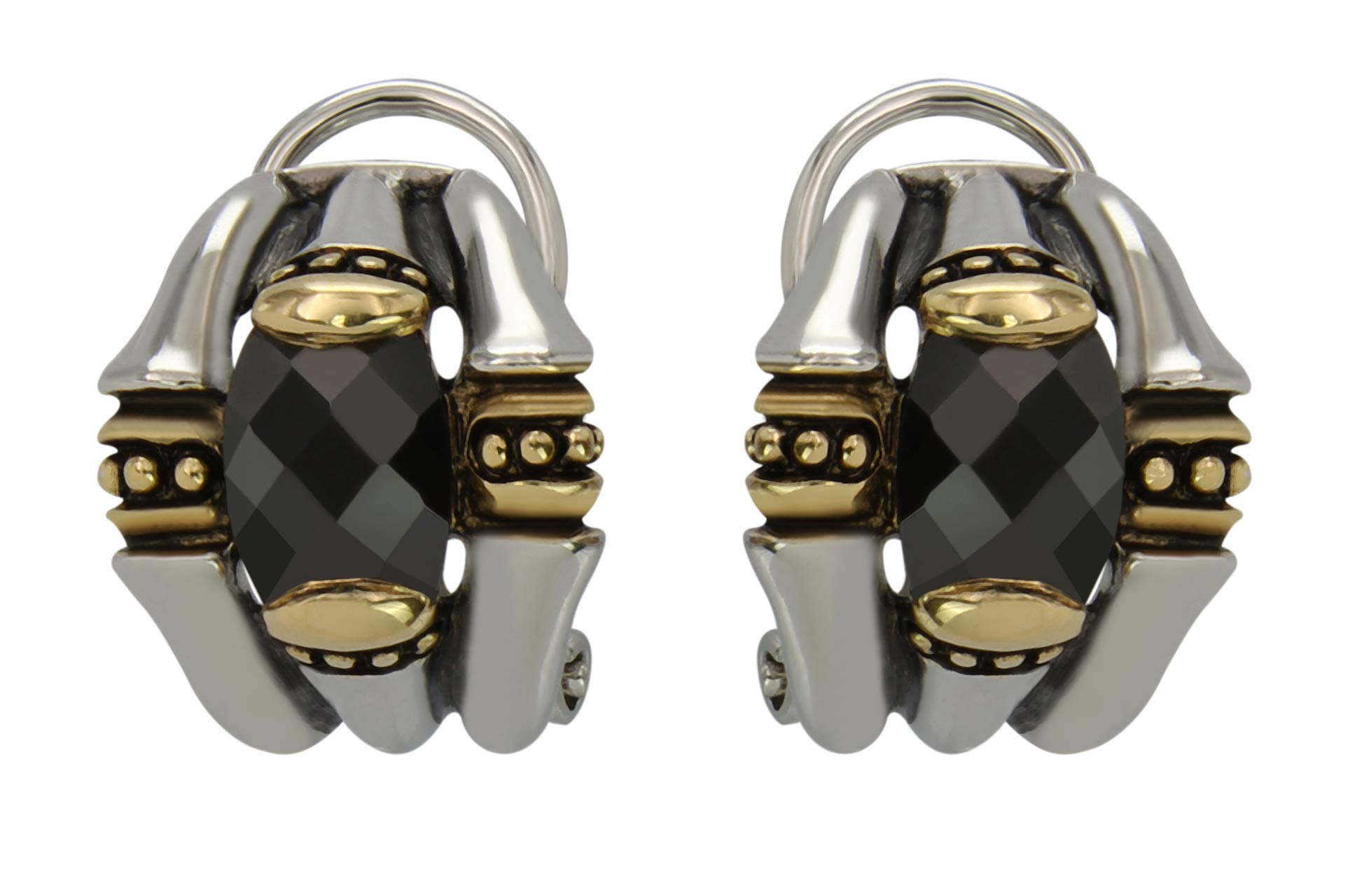 John Medeiros Two-Tone Omega Clip Post Earrings with Black Cubic Zirconia Made in The USA