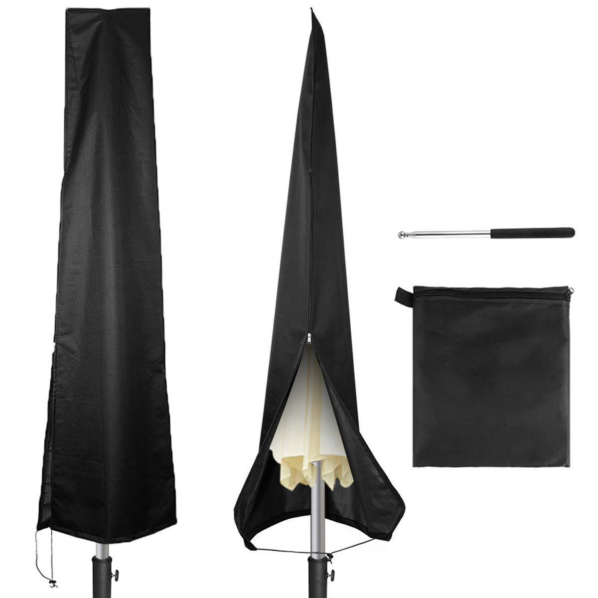 Copertura Impermeabile per ombrellone da Giardino con Cerniera e Asta telescopica a Spinta Yudanny per ombrelloni da 2,1 m a 3,7 m Tessuto Oxford 420D Nero