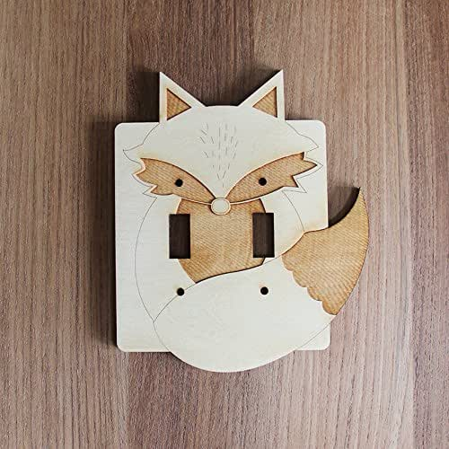 Amazoncom Wood Laser Cut Fox Light Switch Plate Double Switch