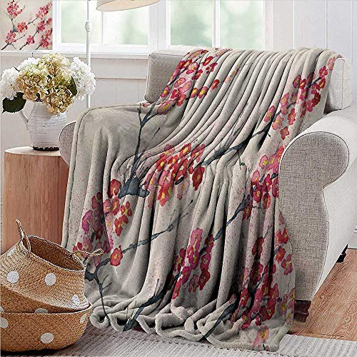 Custom Sofa Bed Throw Blanket,Floral,Cherry Blossoms Sakura Eastern Old Style Painting Print Vintage Asian Theme,Pink Beige Gray,300GSM,Super Soft and Warm,Durable Blanket 50