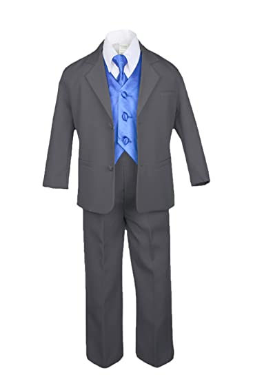 Boy /& Toddler Formal Vest shorts Suit S M L XL 2T 3T 4T Silver Gray New Infant