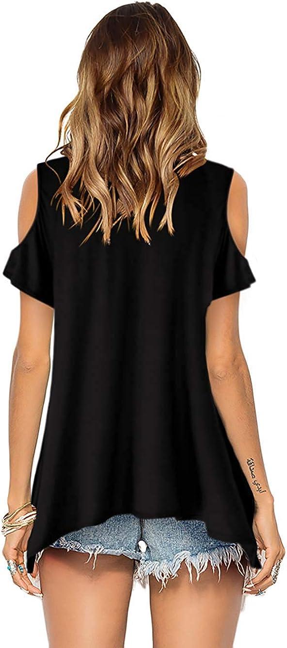 Florboom Womens Short Sleeve V Neck Cold Shoulder T Shirts Tunic Tops