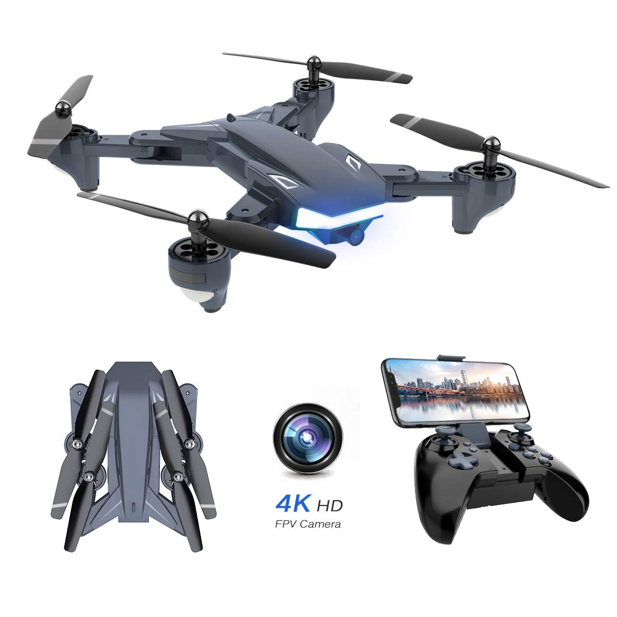 WiFi FPV Drone, Supkiir Foldable RC Quadcopter with 4K HD Camera, Portable Aircraft Toy for Beginners with Gravity Control, Image Tracking, Custom Flight Path, Gesture Control by Supkiir