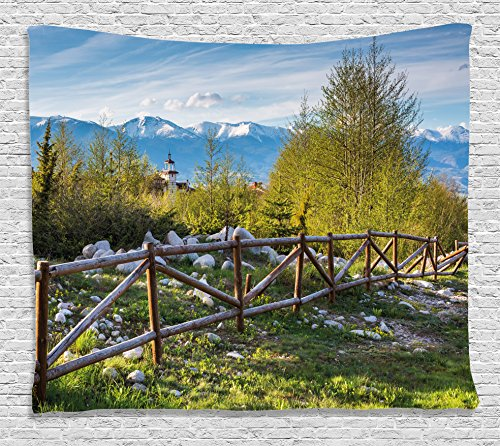 Ambesonne Farmland Tapestry, Idyllic Scene with Tree Trunk Plank and Snow Mountain Range The Alps Photo, Wide Wall Hanging for Bedroom Living Room Dorm, 80