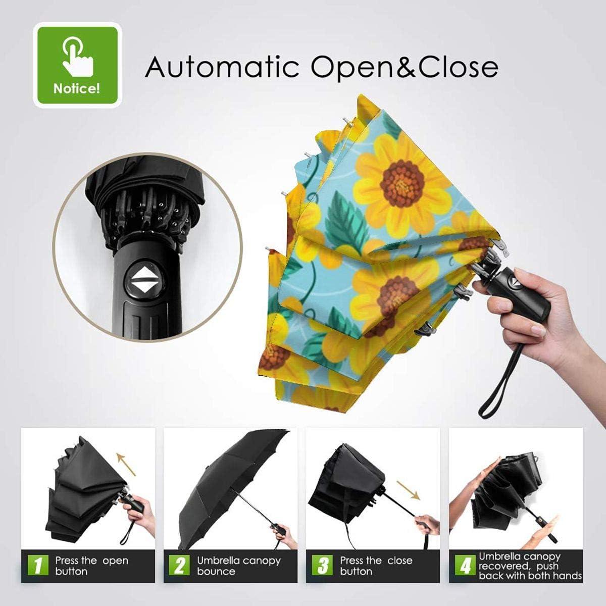 DXDXL Seamless Pattern Sunflower Automatic Tri-fold Umbrella Inside Print One Size