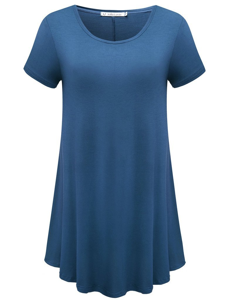 JollieLovin Women's Short Sleeve Loose Fit Flare Hem T Shirt Tunic Top (Steel Blue, S)