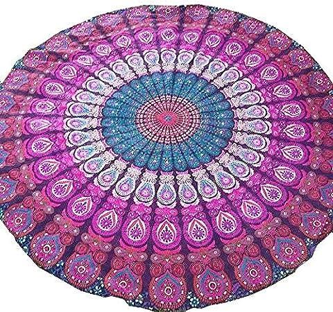Lavanda redondo tapiz colgante de pared tapices Mandala tapiz indio de algodón Hippie Redondo: Amazon.es: Hogar