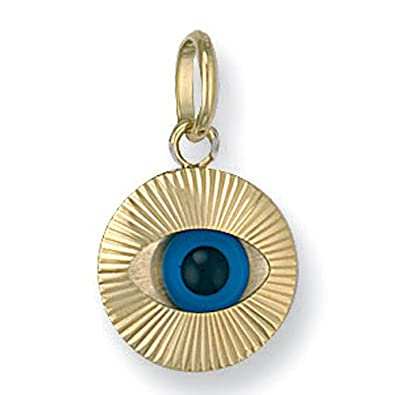 9ct Yellow Gold Evil Eye Charm Pendant Small Amazon
