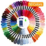 SOLEDI Embroidery Floss Thread Craft Floss Set for Friendship Bracelets 50 Skeins Rainbow Colors with Embroidery Tools