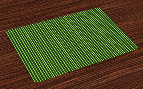Lunarable Green Place Mats Set of 4, Tropical Exotic Nature Pattern of Stylized Bamboo Stems, Washable Fabric Placemats for Dining Room Kitchen Table Decor, Forest Green Lime Green and Apple Green