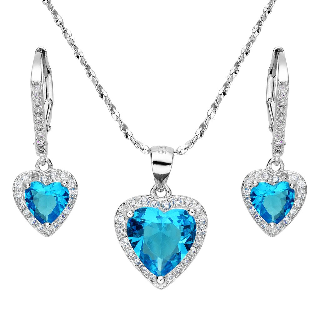 EleQueen 925 Sterling Silver Cubic Zirconia Love Heart Bridal Pendant Necklace Leverback Earrings Jewelry Set Aquamarine Color 16001200ca
