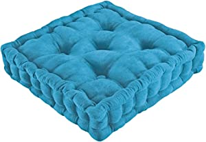 Collections Etc Tufted Padded Boosted Cushion and Support - Plush Seating for Chair with Carrying Handle, Blue