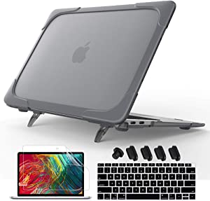 For MacBook Air 13 inch Case 2020 2019 2018,Mektron Rubberized Hard Plastic Case Shockproof Cover Translucent Matte Protective Case for Macbook Air 13.3 A1932 A2179 Retina Display (Gray)