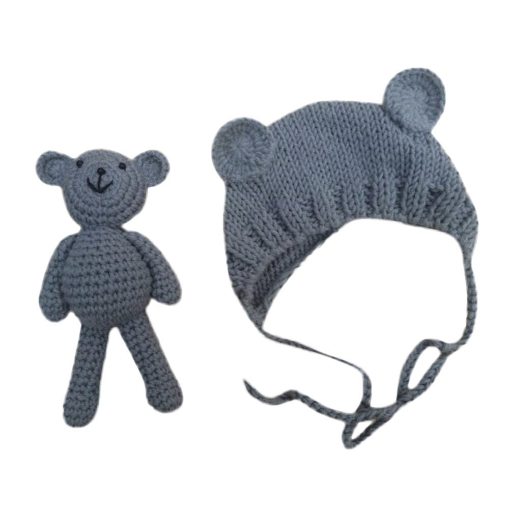 Clearance! Newborn Baby Photography Prop Costume Bear Hat Beanie with Bear Dolls Outfit Accessories
