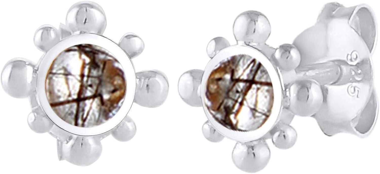 Elli Pendientes Estilo vintage para mujer con cuarzo turmalinado de plata esterlina 925
