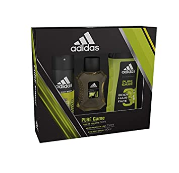 7b29f30434c Adidas Pure Game Body Spray, Shower Gel and Eau de Toilette Trio Gift Set   Amazon.co.uk  Beauty