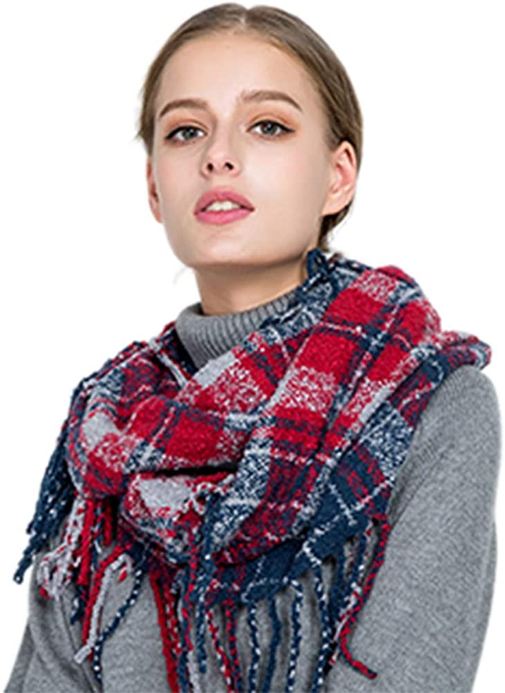 Women Plaid Infinity Scarf...