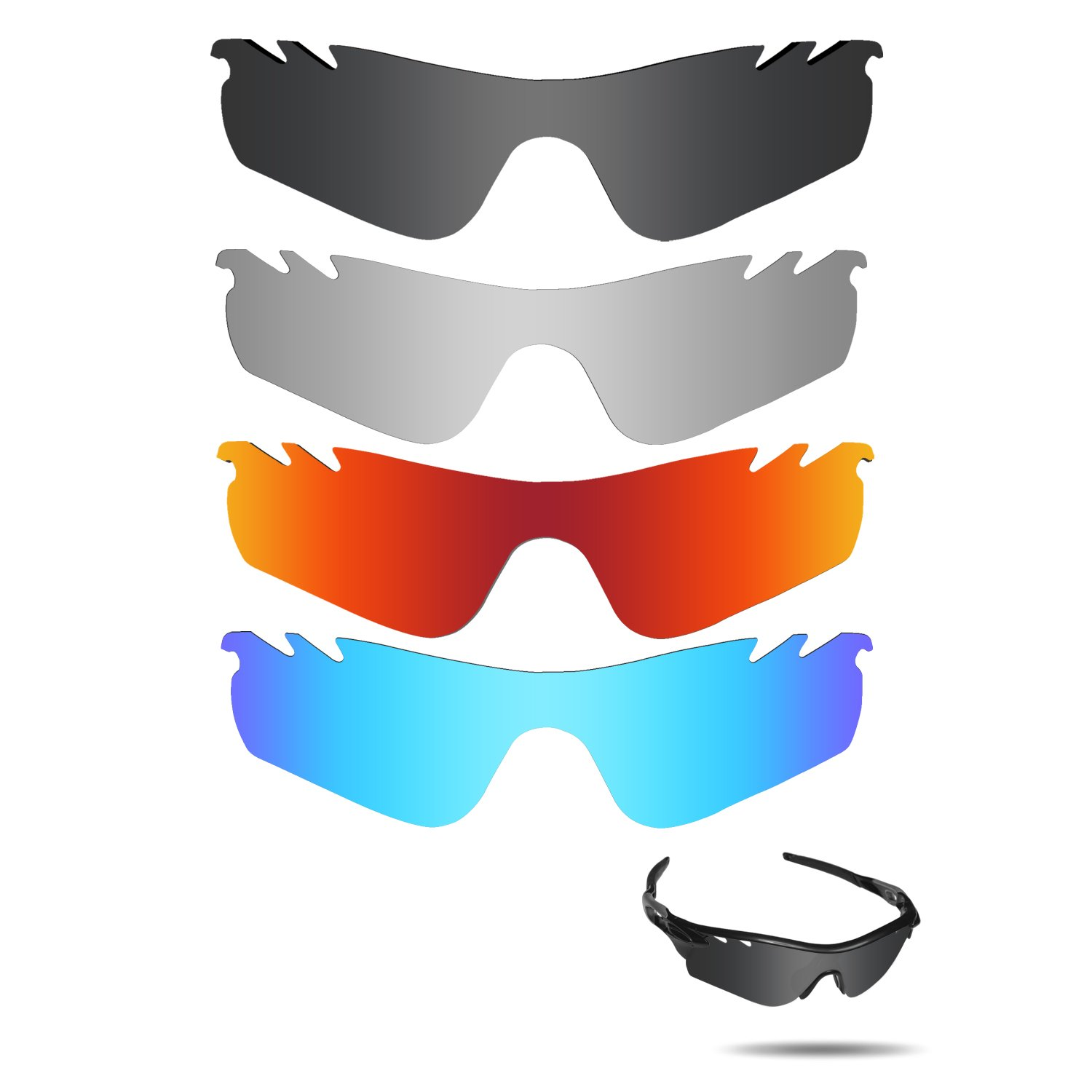 Fiskr Polarized Replacement Lenses for Oakley Radarlock Path Vented Sunglasses 4 Pairs Pack by Fiskr